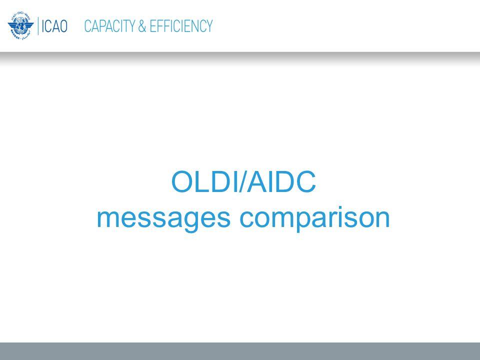 OLDI/AIDC messages comparison