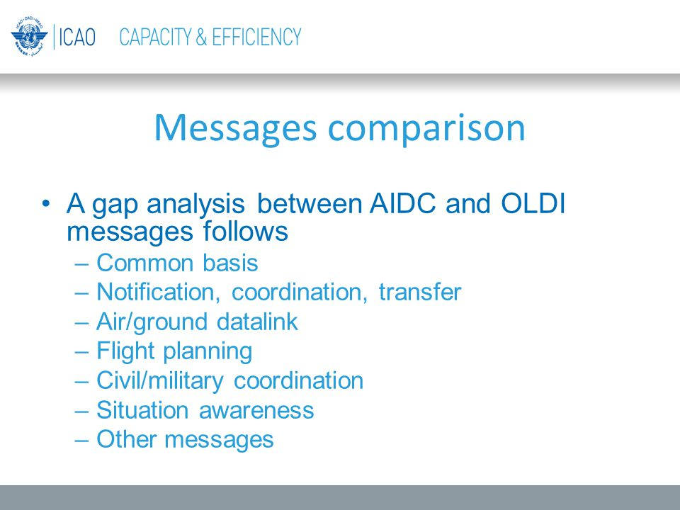 Messages comparison A gap analysis between AIDC and OLDI messages follows. Common basis. Notification, coordination, transfer.