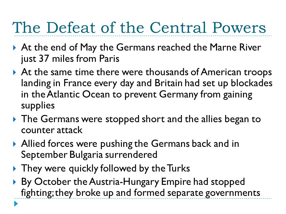 The Defeat of the Central Powers
