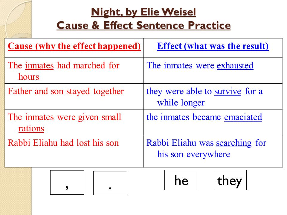 Night, by Elie Weisel Cause & Effect Sentence Practice