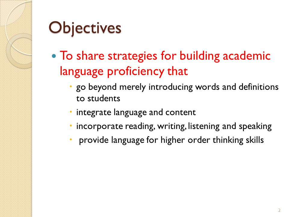 Objectives To share strategies for building academic language proficiency that. go beyond merely introducing words and definitions to students.