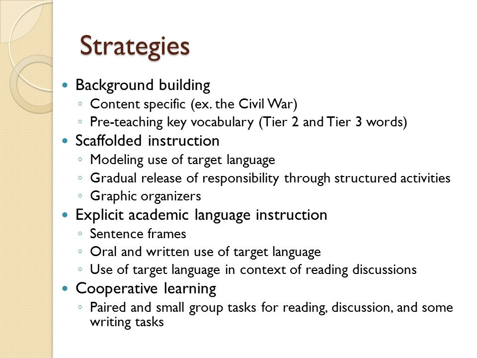 Strategies Background building Scaffolded instruction