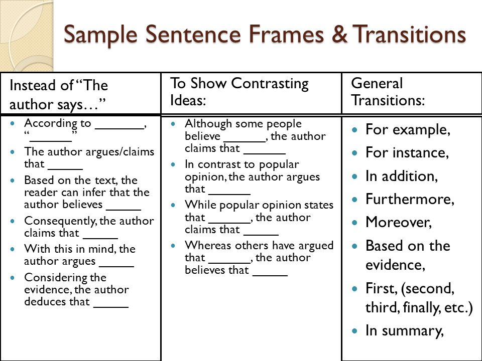 Sample Sentence Frames & Transitions