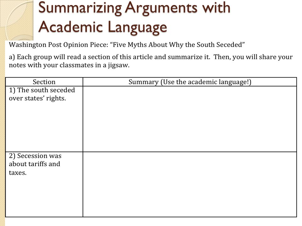 Summarizing Arguments with Academic Language