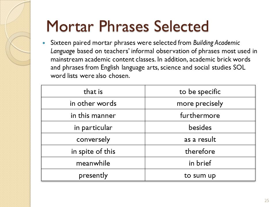 Mortar Phrases Selected