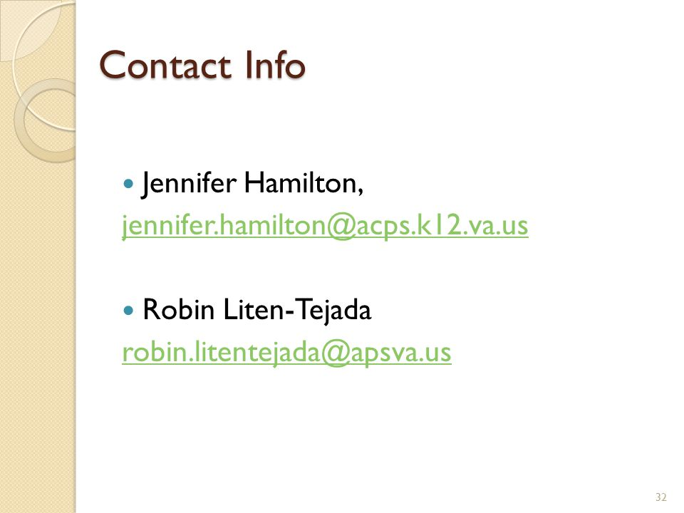 Contact Info Jennifer Hamilton, jennifer.hamilton@acps.k12.va.us.