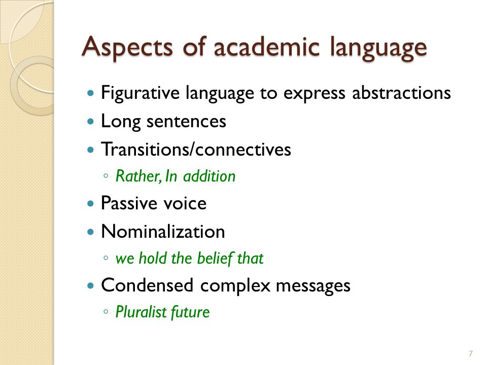 Aspects of academic language