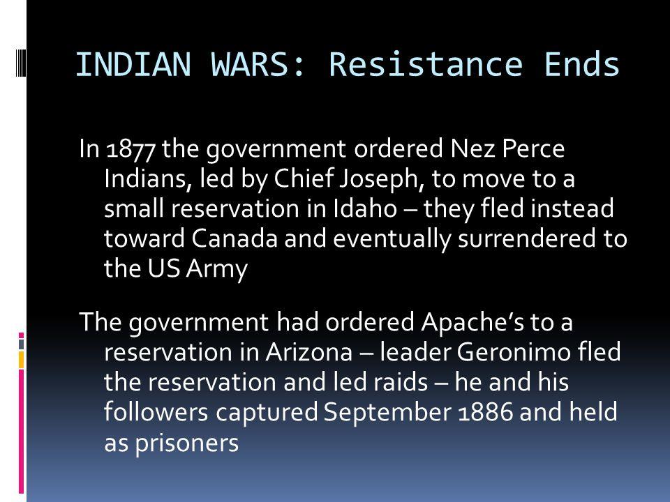 INDIAN WARS: Resistance Ends