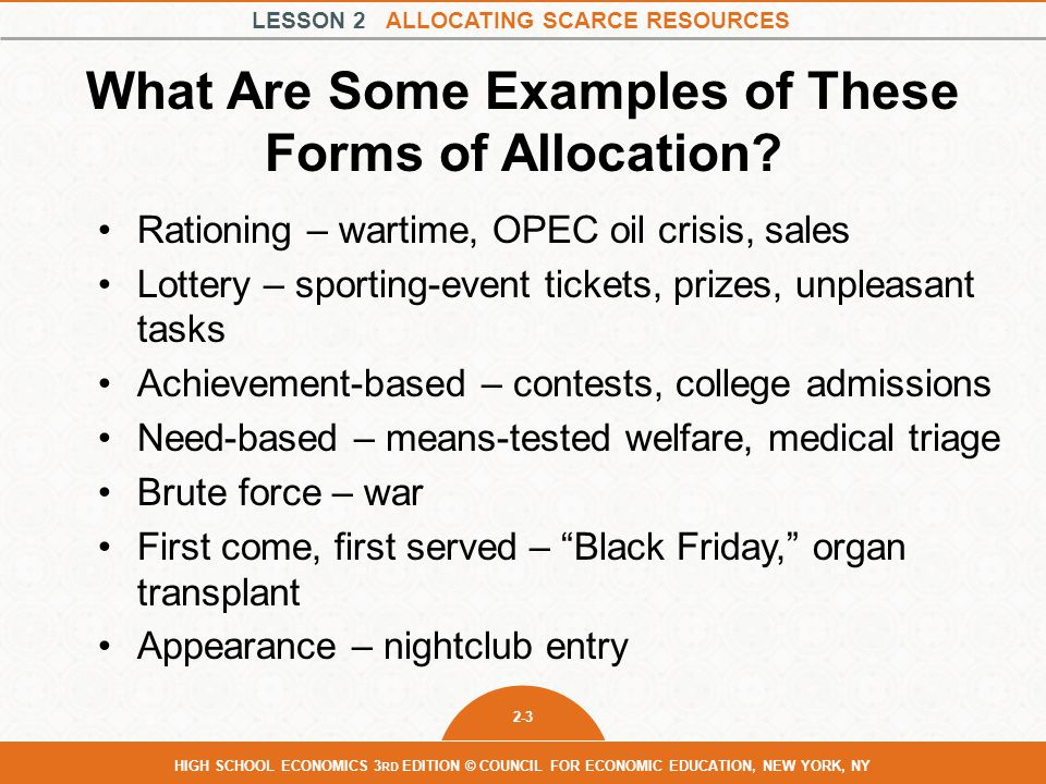 What Are Some Examples of These Forms of Allocation