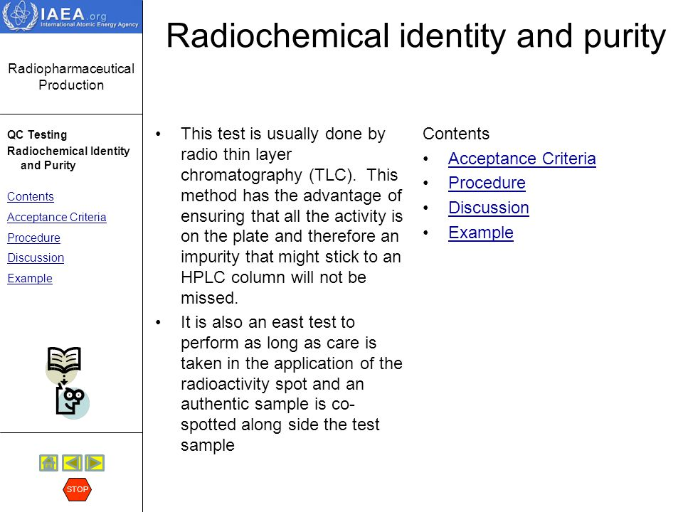 Radiochemical identity and purity