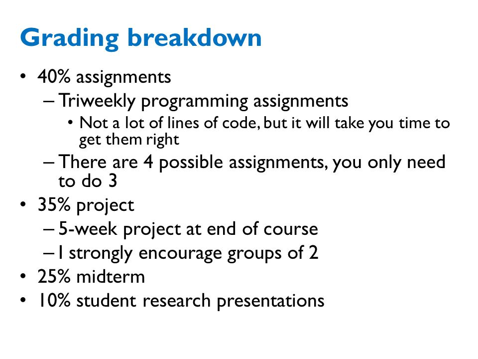 Grading breakdown 40% assignments Triweekly programming assignments