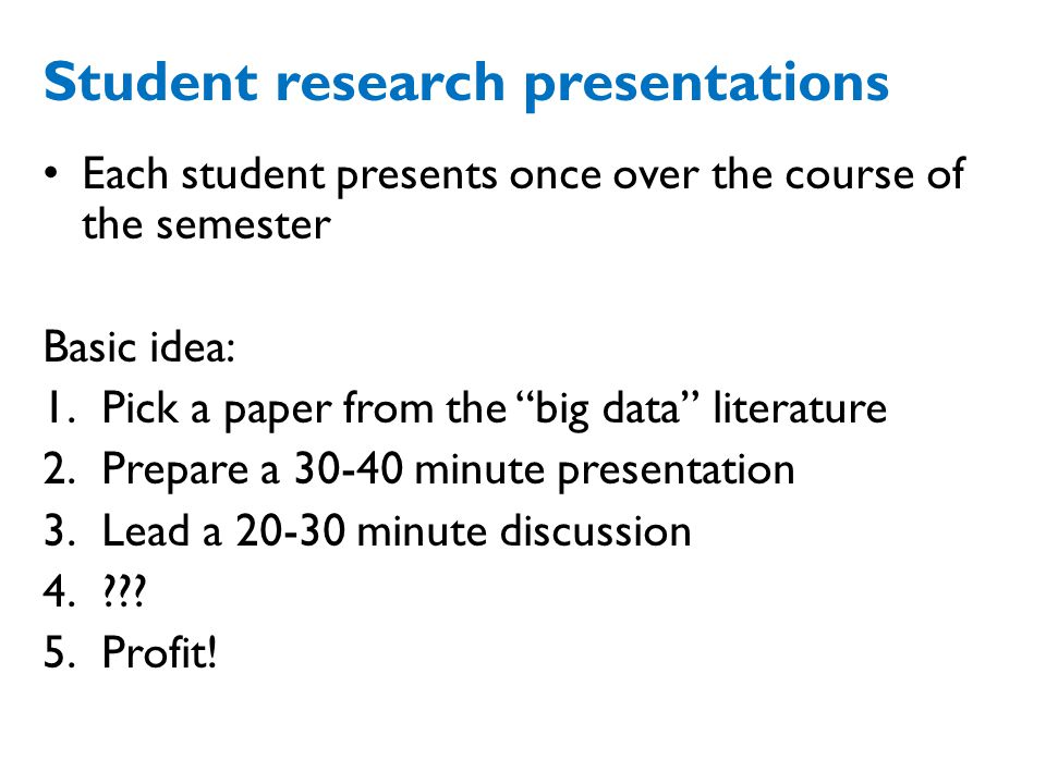 Student research presentations