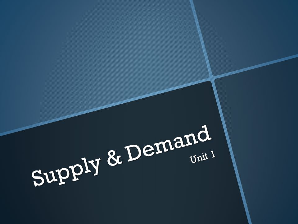 Supply & Demand Unit 1