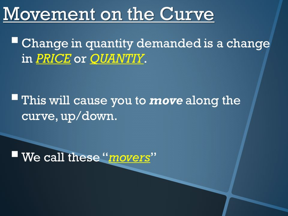 Movement on the Curve Change in quantity demanded is a change in PRICE or QUANTIY. This will cause you to move along the curve, up/down.
