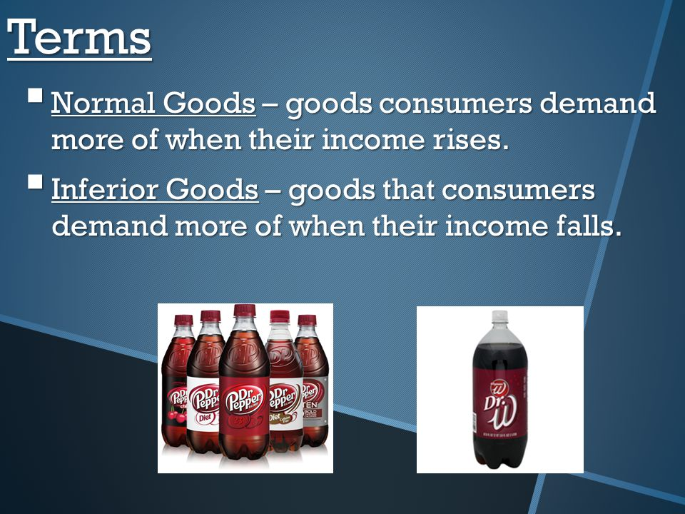 Terms Normal Goods – goods consumers demand more of when their income rises.