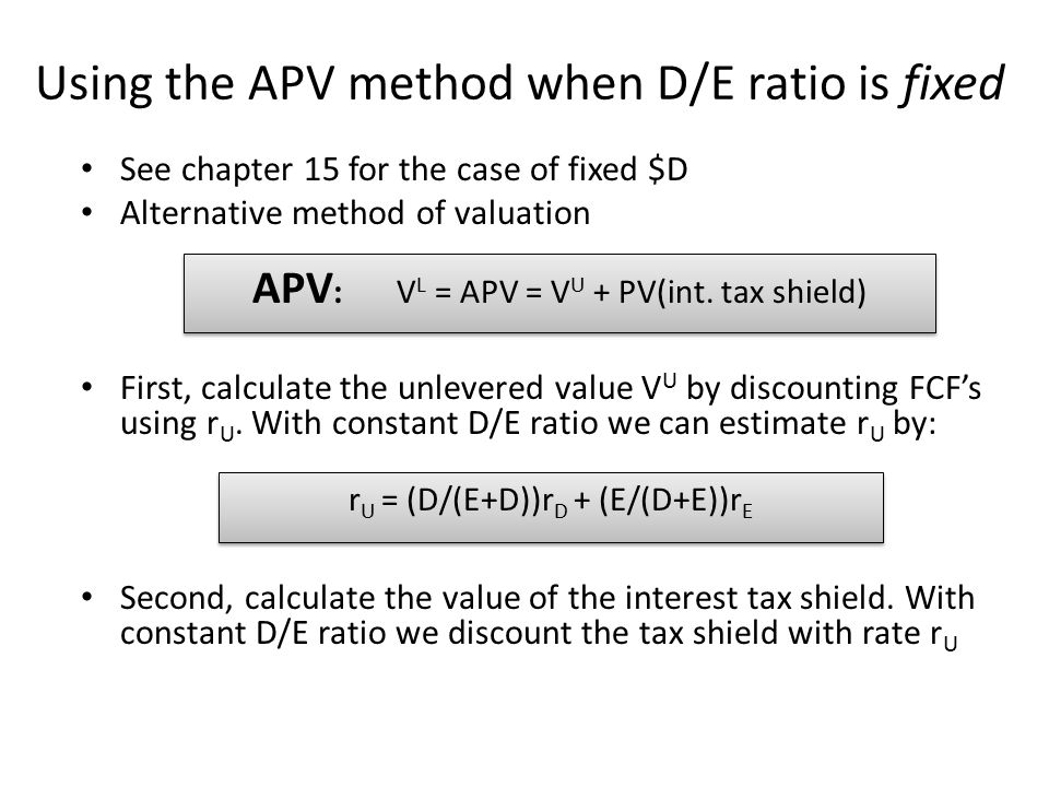 Using the APV method when D/E ratio is fixed