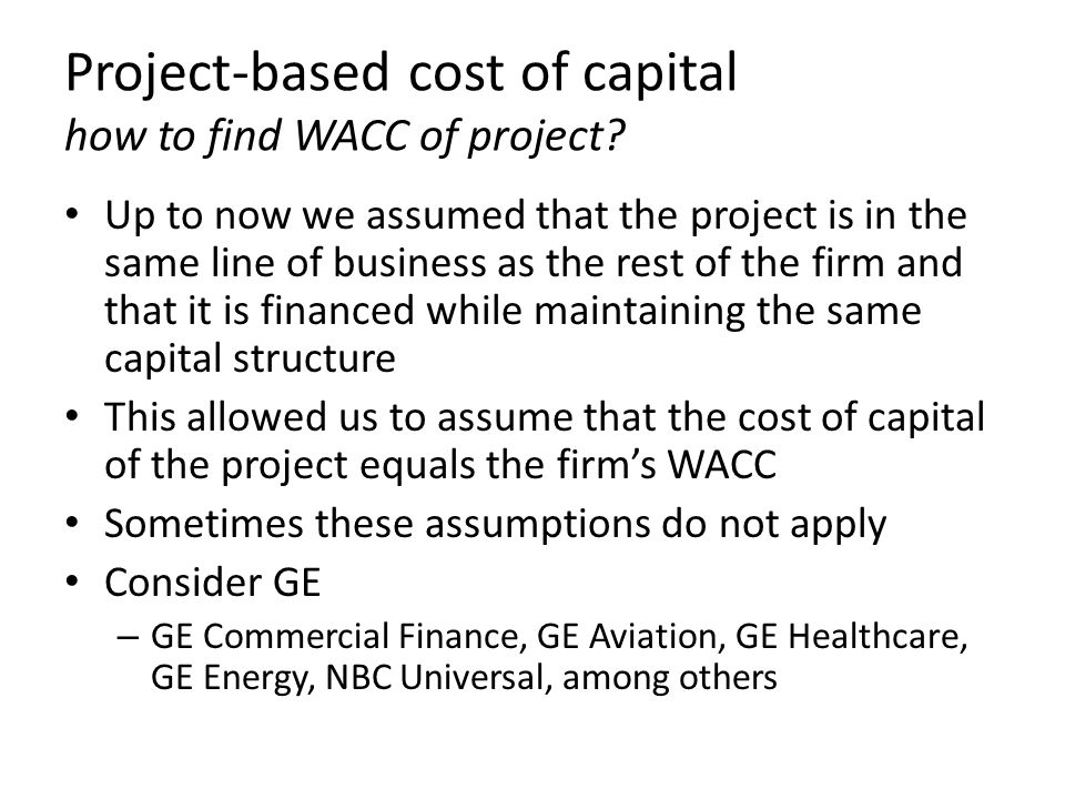 Project-based cost of capital how to find WACC of project