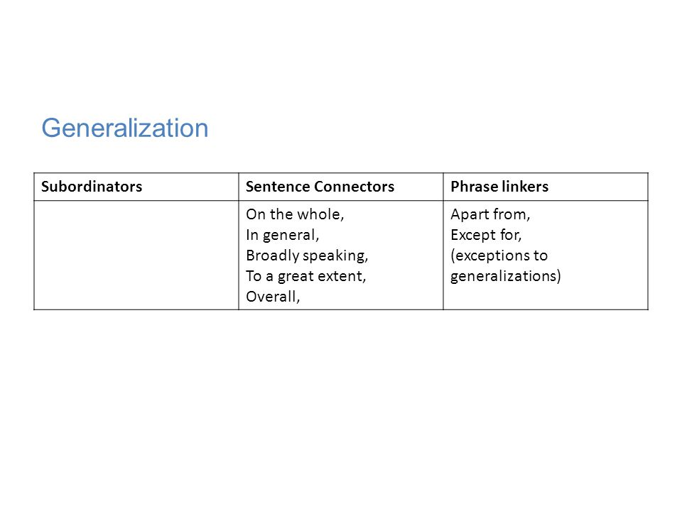 Generalization Subordinators Sentence Connectors Phrase linkers