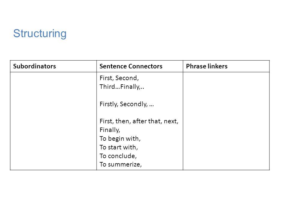 Structuring Subordinators Sentence Connectors Phrase linkers