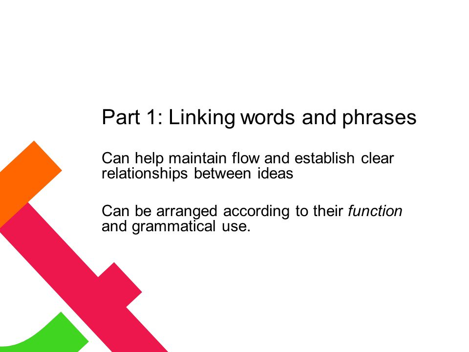 Part 1: Linking words and phrases