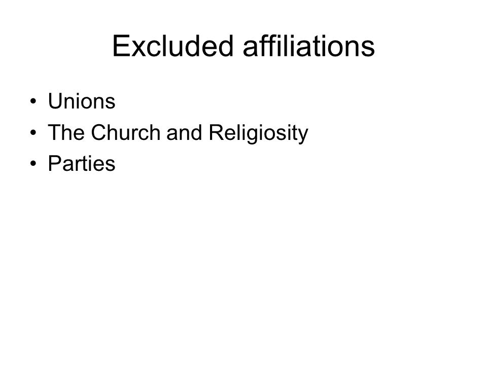Excluded affiliations