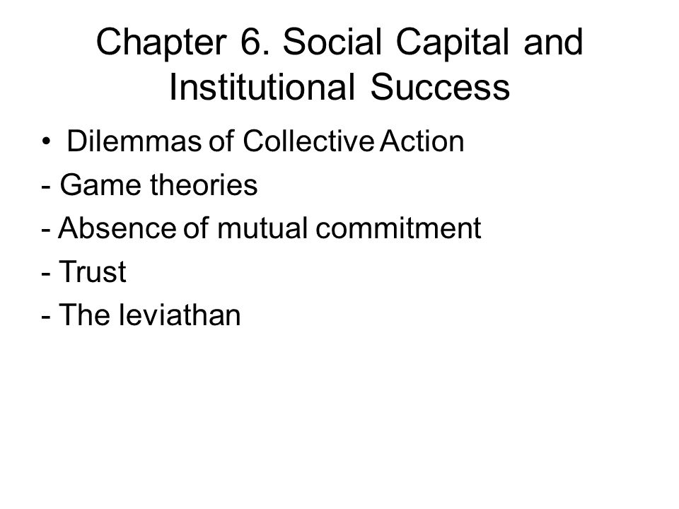 Chapter 6. Social Capital and Institutional Success