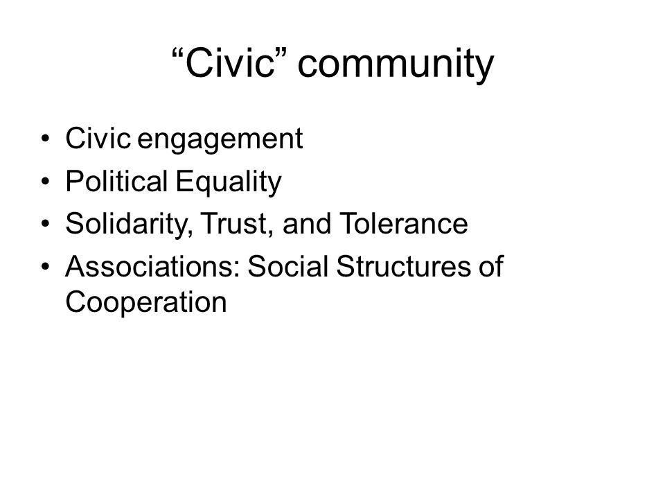 Civic community Civic engagement Political Equality