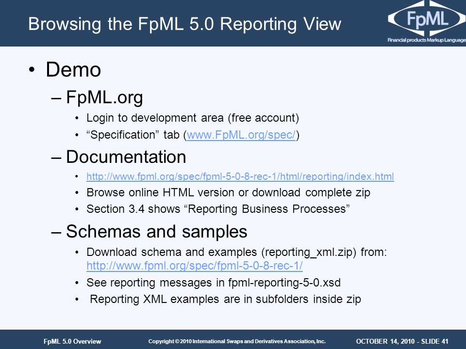 Browsing the FpML 5.0 Reporting View