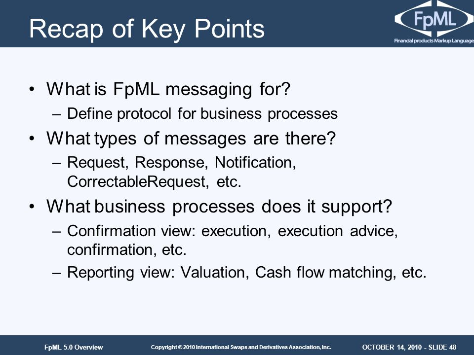 Recap of Key Points What is FpML messaging for