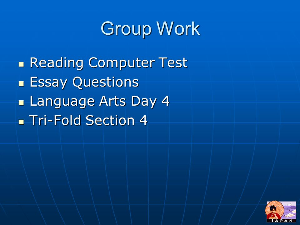 Group Work Reading Computer Test Essay Questions Language Arts Day 4