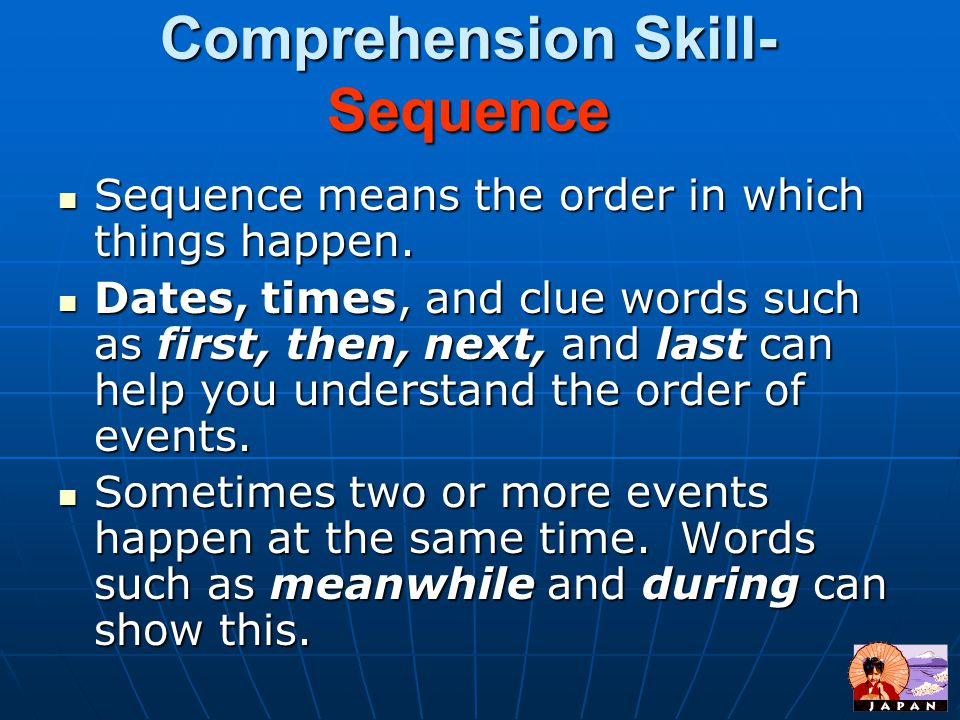 Comprehension Skill- Sequence