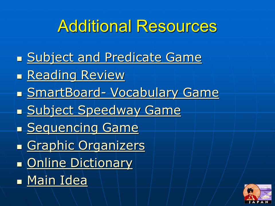 Additional Resources Subject and Predicate Game Reading Review