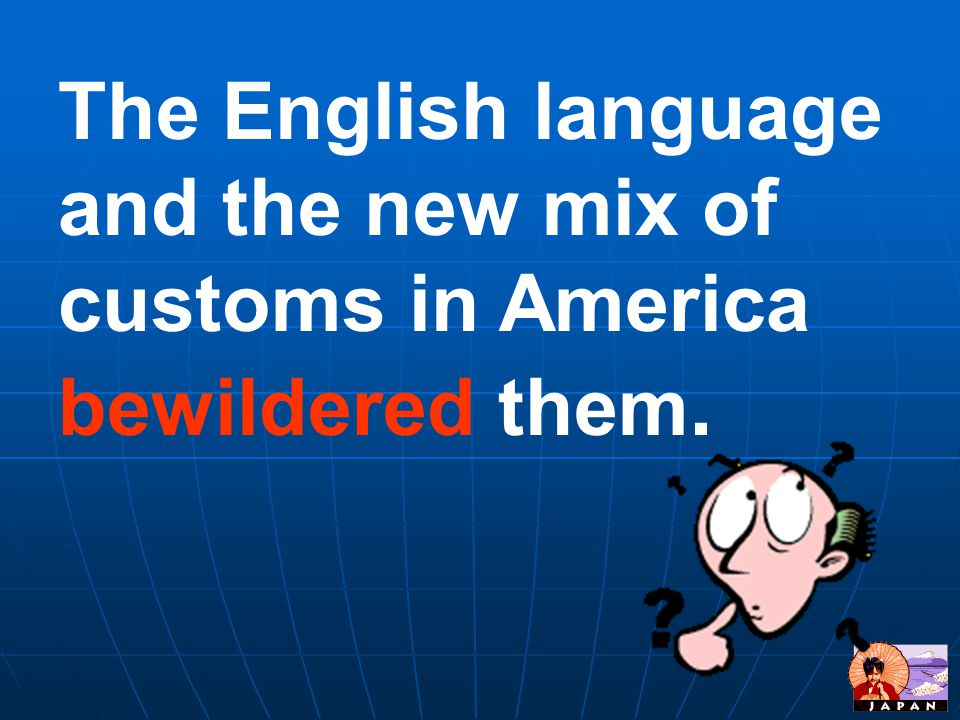 The English language and the new mix of customs in America bewildered them.