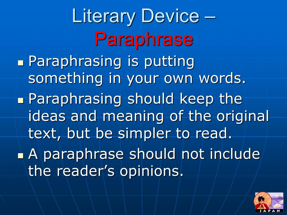 Literary Device – Paraphrase