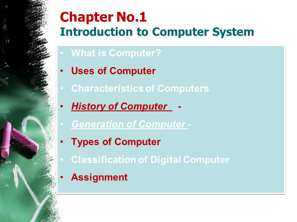 Chapter No.1 Introduction to Computer System