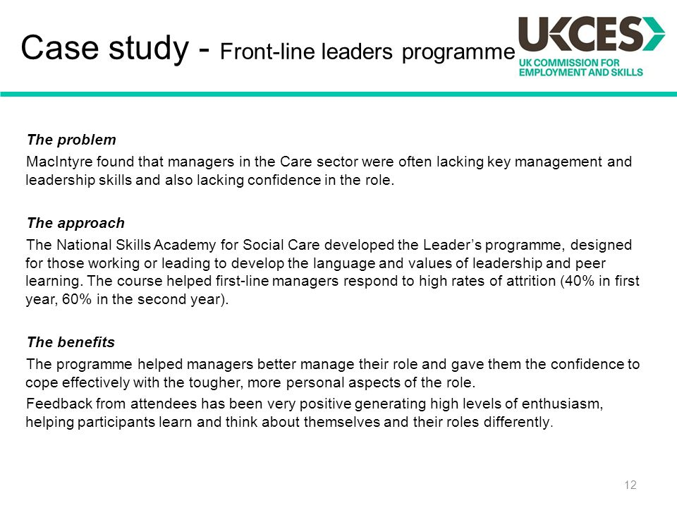 Case study - Front-line leaders programme