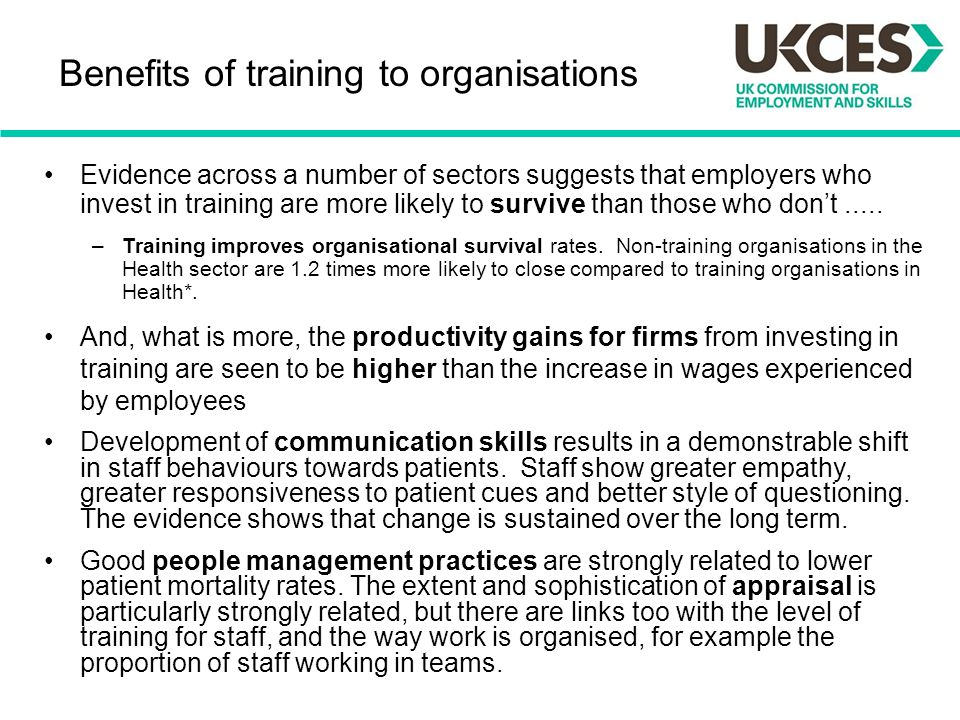 Benefits of training to organisations
