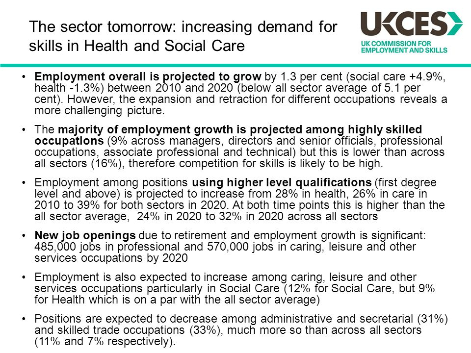The sector tomorrow: increasing demand for skills in Health and Social Care