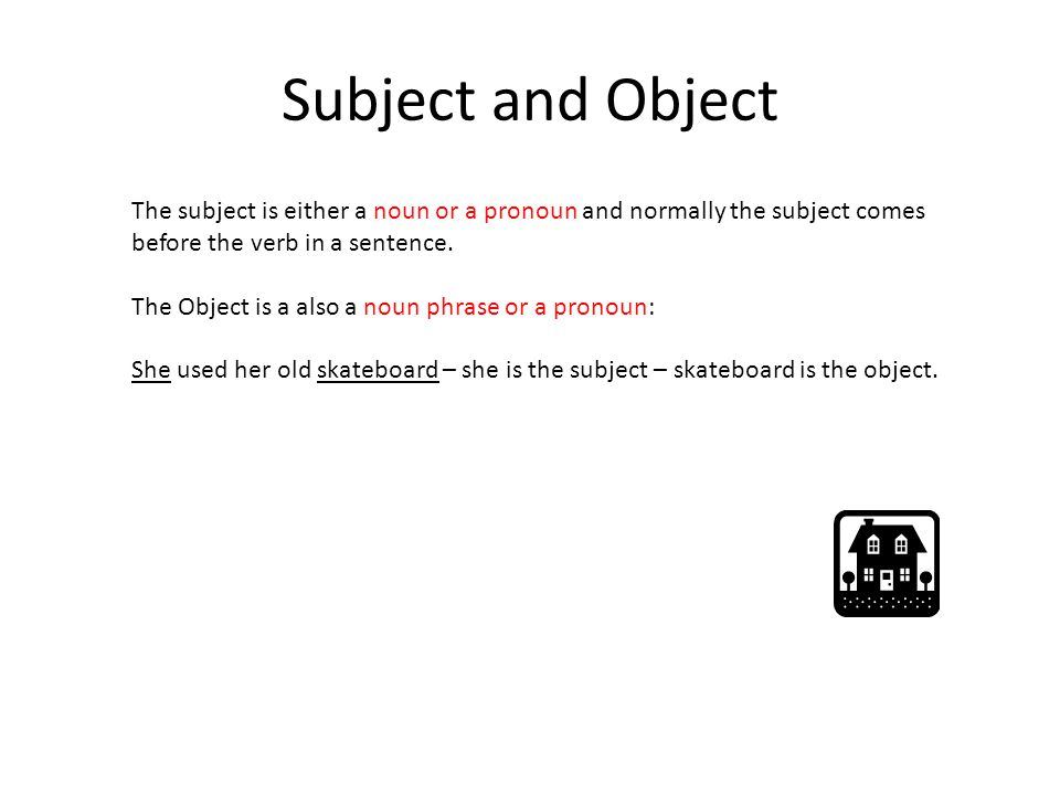 Subject and Object The subject is either a noun or a pronoun and normally the subject comes. before the verb in a sentence.
