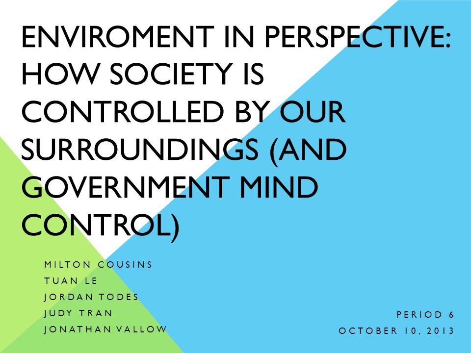 Enviroment in Perspective: How society is controlled by our surroundings (and government mind control)