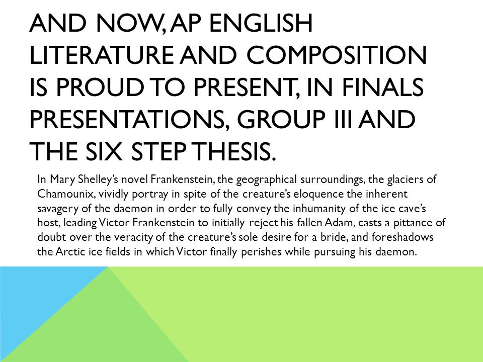 And now, AP English Literature and Composition is proud to present, in finals presentations, Group III and the Six Step Thesis.