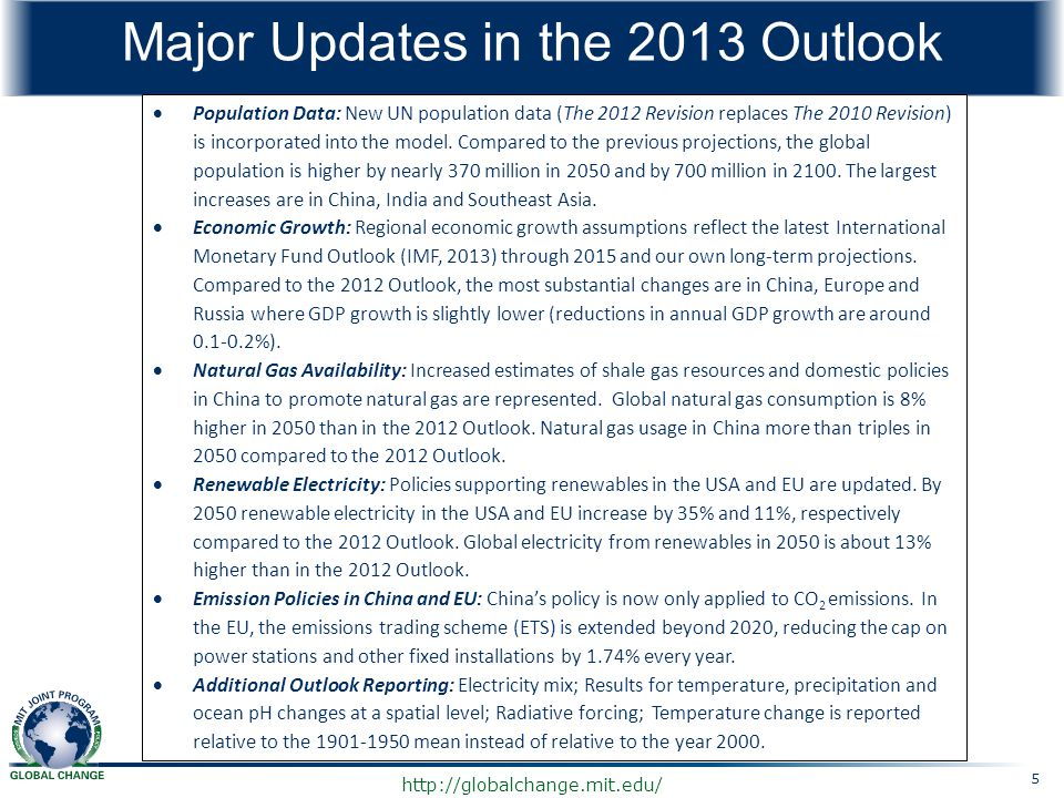 Major Updates in the 2013 Outlook
