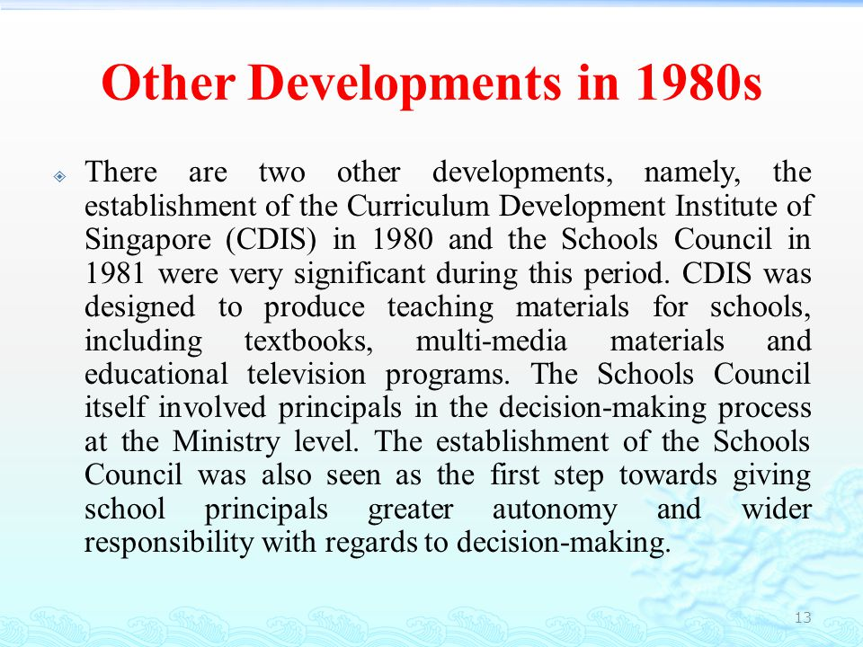 Other Developments in 1980s