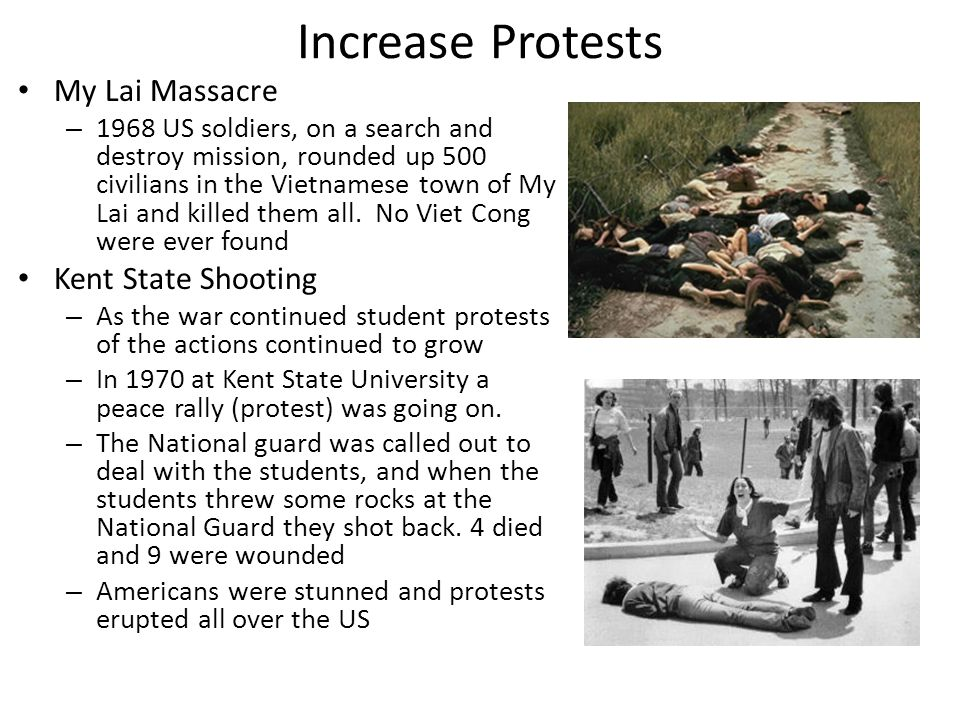 Increase Protests My Lai Massacre Kent State Shooting