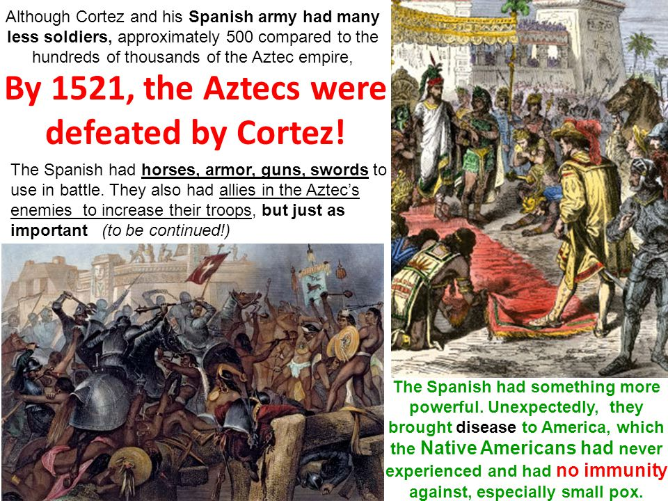 By 1521, the Aztecs were defeated by Cortez!