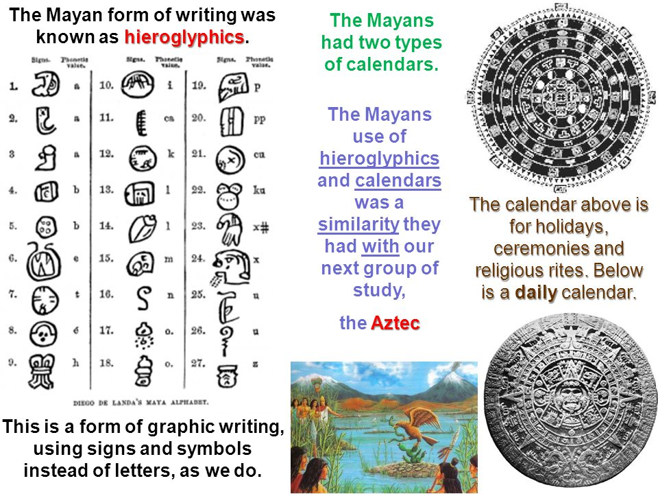 The Mayan form of writing was known as hieroglyphics.