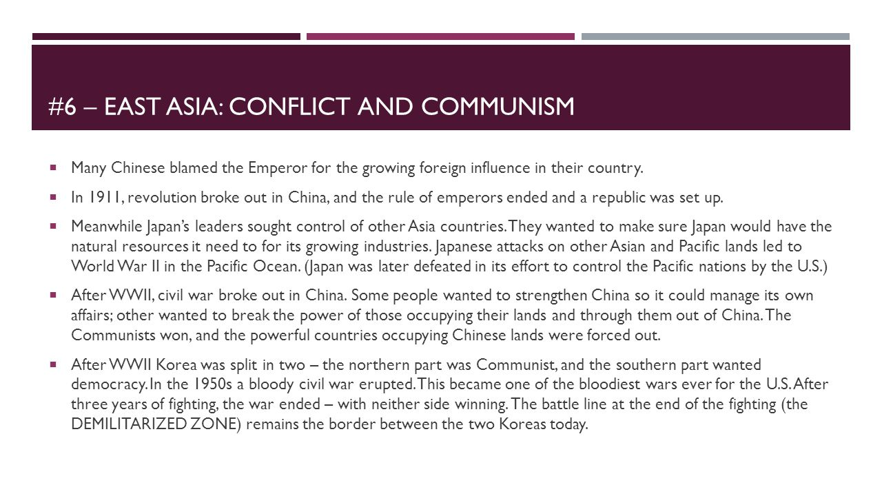 #6 – East asia: Conflict and communism