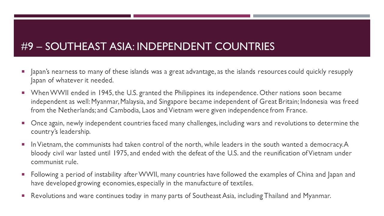 #9 – Southeast asia: Independent countries
