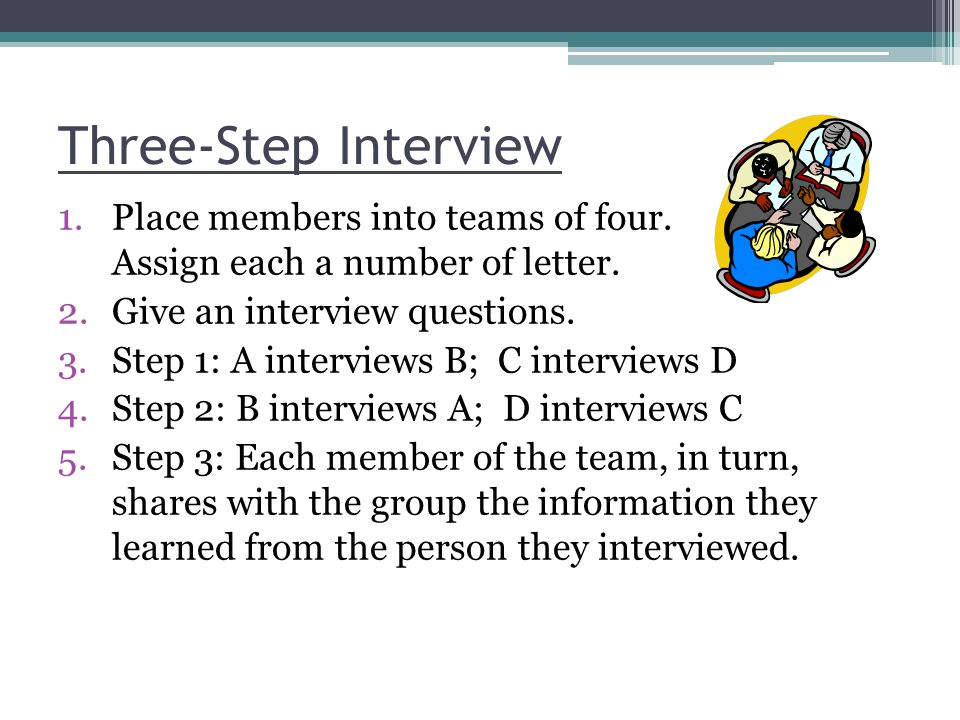 Three-Step Interview Place members into teams of four. Assign each a number of letter. Give an interview questions.