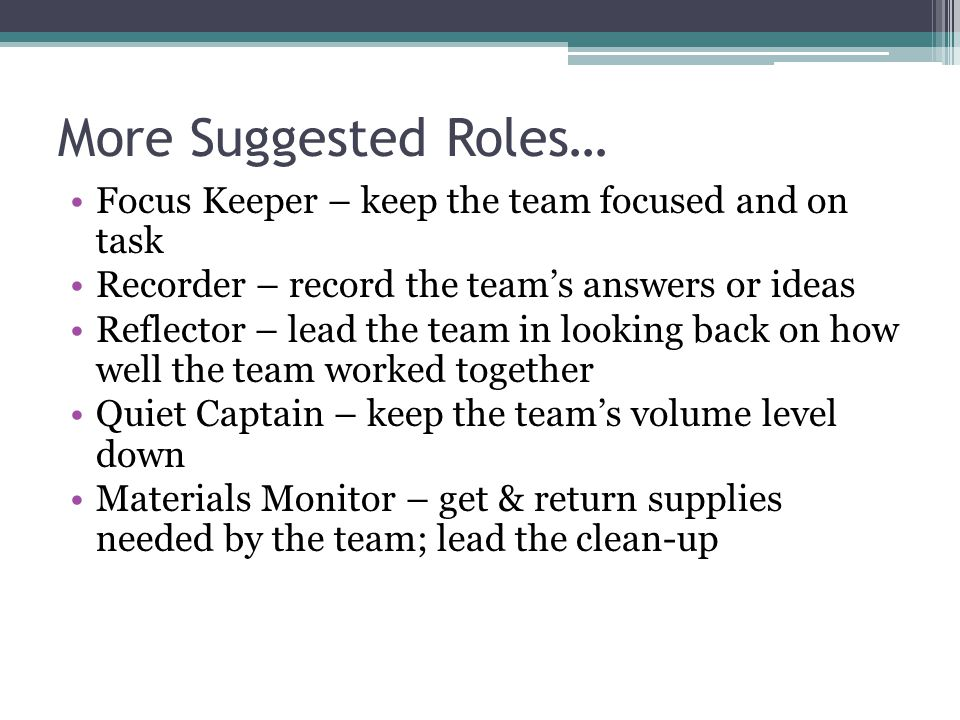 More Suggested Roles… Focus Keeper – keep the team focused and on task